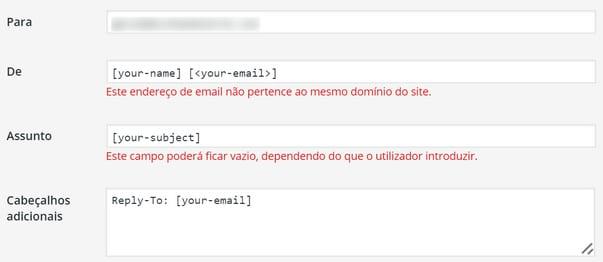Erro contact form 7